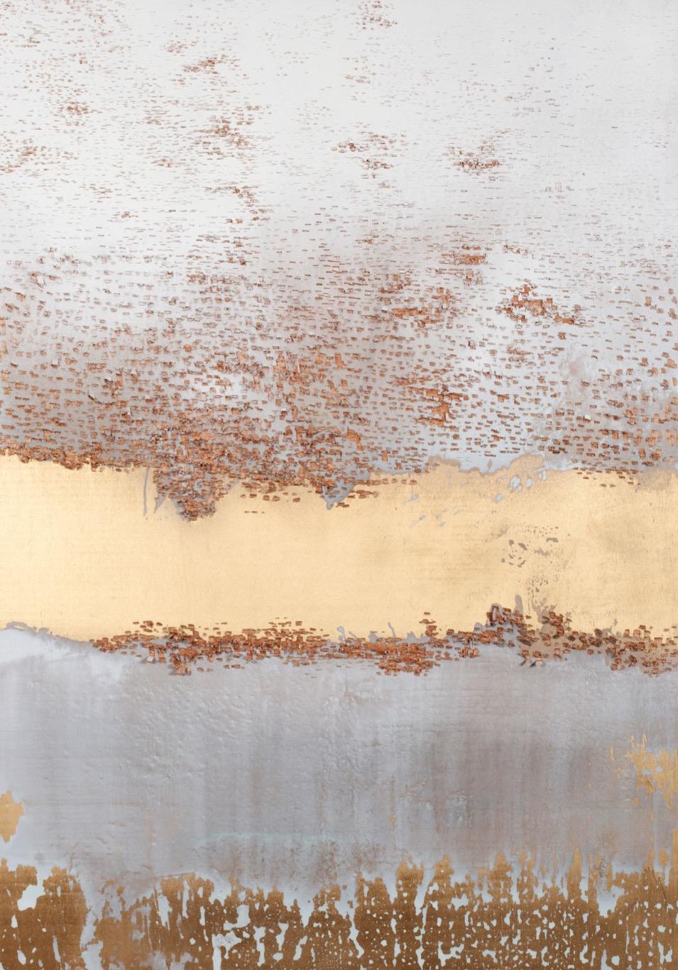Subtraction (white, gold), 2016, bois, acrylique, 178 x 122 x 1 cm