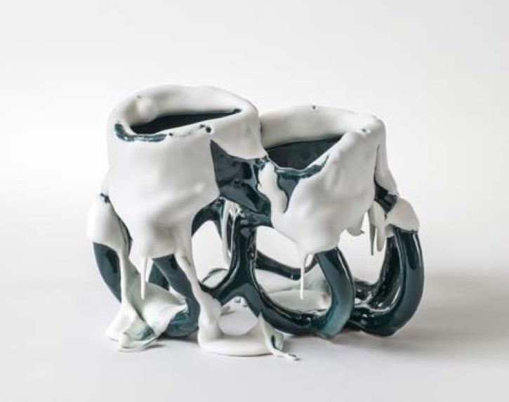 Une Partie de Campagne - à Chassagne-Montrachet & Chagny - Bente Skjøttgaard White Greenspecies no 1554 16 x 22 x 16 cm grès et glaçure, 2015 - courtesy Galerie Maria Lund Paris