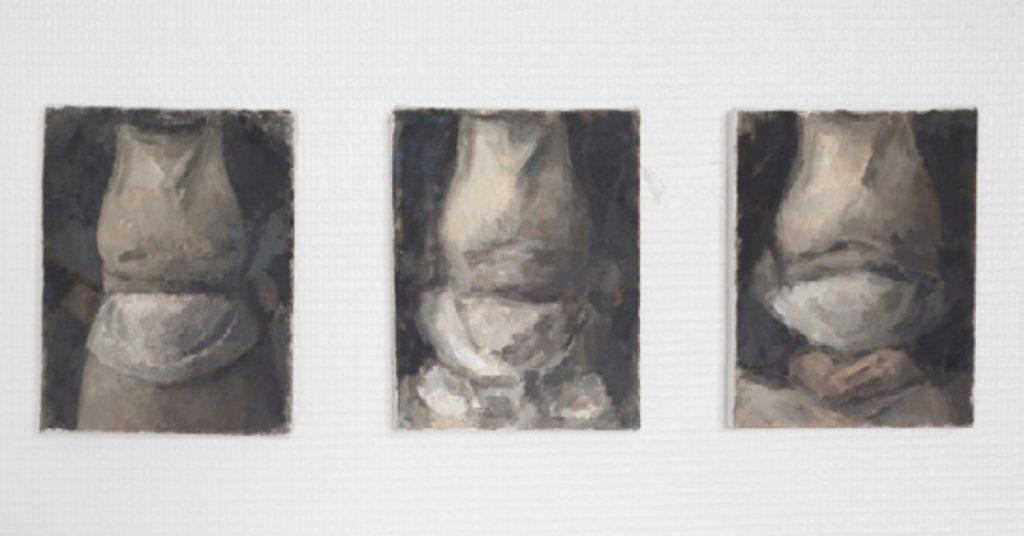 Tatiana Pozzo Di Borgo - Trois Tabliers - 2017 - Huile sur toiles - 18 x 14 cm chaque – Exposition Seuls ensemble H Gallery Paris