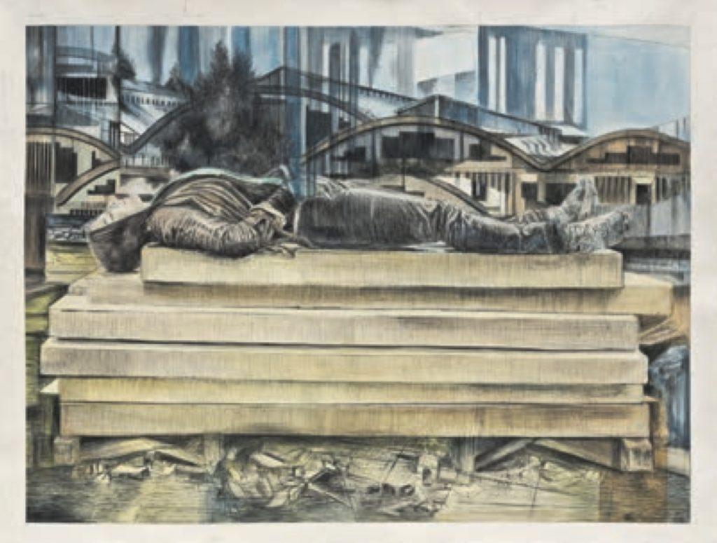 Iris Levasseur, Cdc amnésie, 2013, Graphite sur papier, 114 x 146 cm - Exposition GRAND TROUBLE La Halle Saint-Pierre