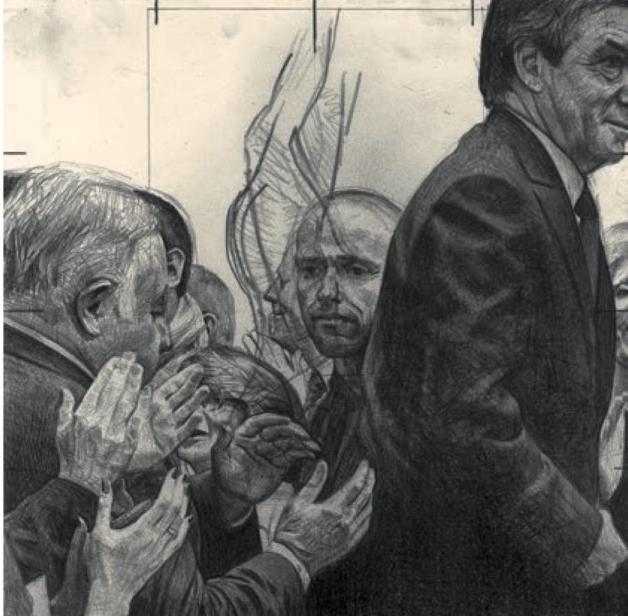 Joël Person, Le bruit du monde, 2017. Pierre noire sur papier, 25,2 x 25,2 cm - Exposition GRAND TROUBLE Halle Saint-Pierre