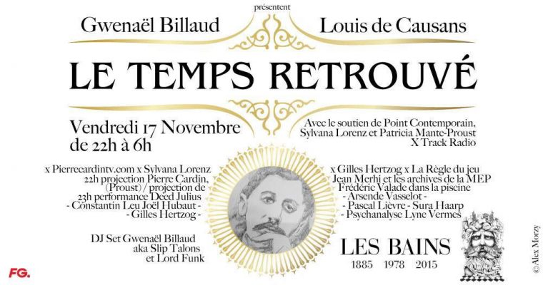 [SOIRÉE] 17.11 – Le Temps Retrouvé X pierrecardintv.com X Sylvana Lorenz X Gilles Hertzog X LES BAINS PARIS