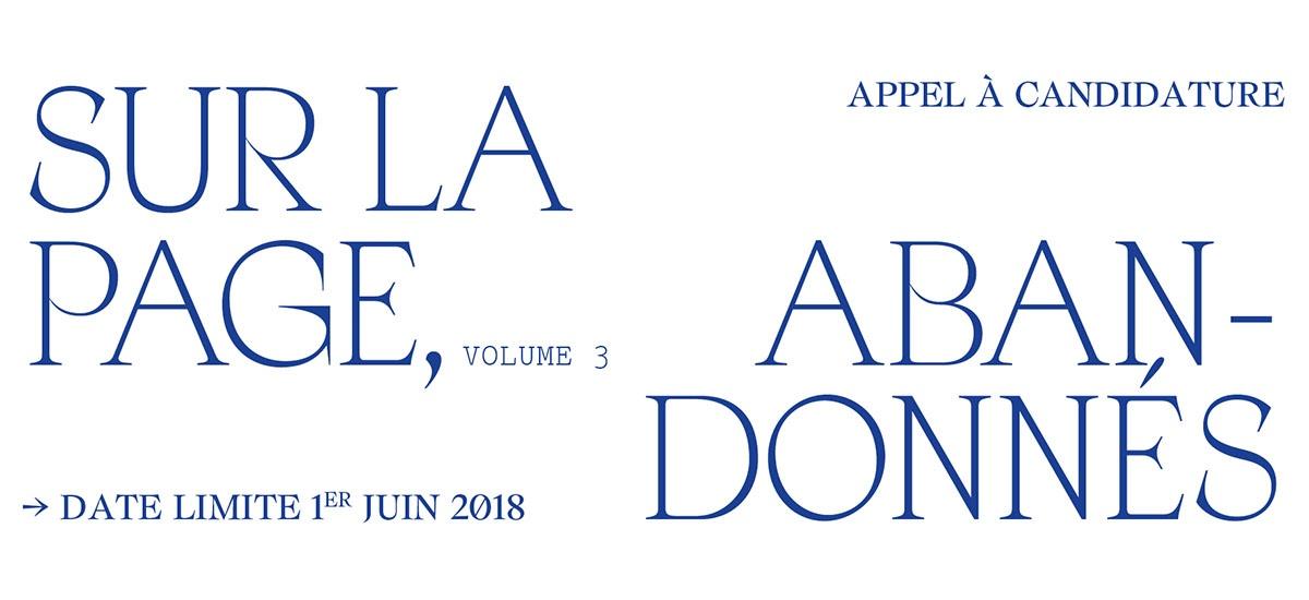 [APPEL À CANDIDATURE] ▷ 01/06 – SUR LA PAGE, ABANDONNÉS volume 3