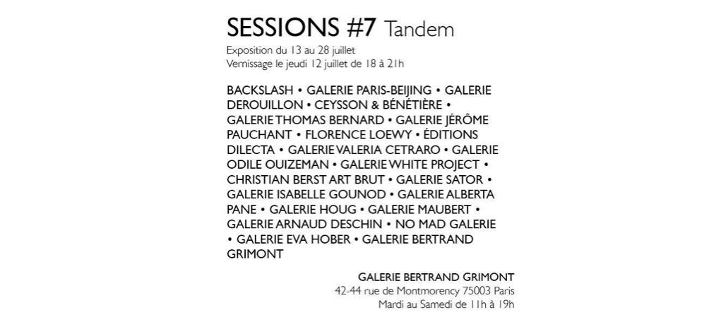 13▷28/07 – SESSIONS #7 (TANDEM) – GALERIE BERTRAND GRIMONT PARIS