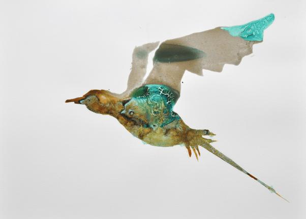 Lionel Sabatté Oiseau des iles oxydé Solution à base de fer et bronze oxydé sur papier Arches, © Lionel Sabatté