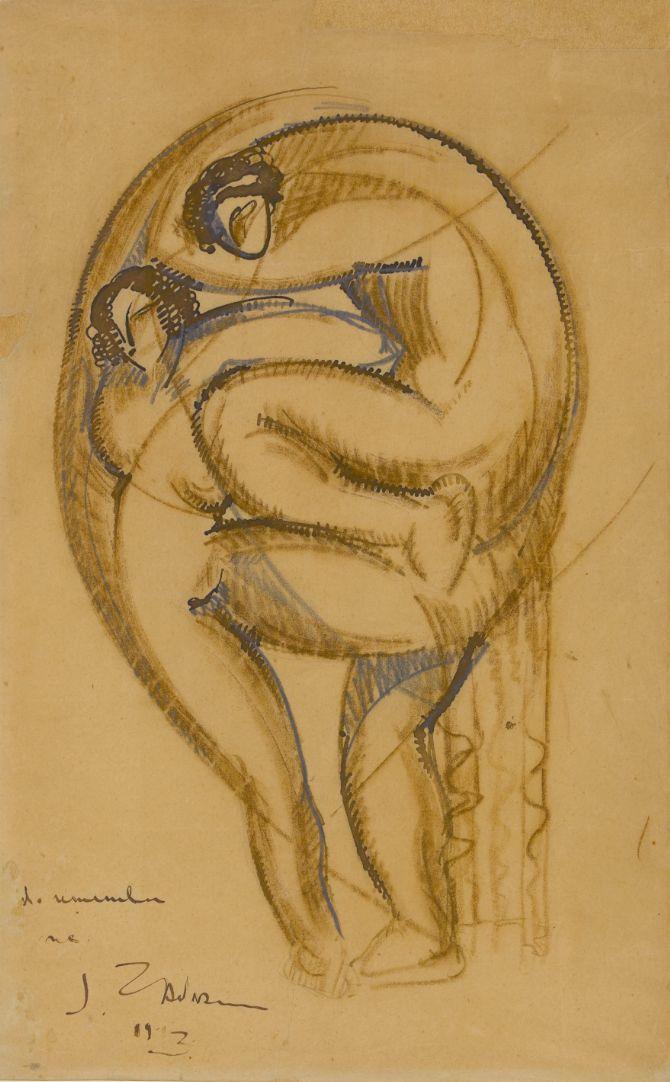Ossip Zadkine (1890-1967), Do remember me. Plume et encre brune, craie sépia et graphite sur papier vélin, s.d.b.g. : J Zadkine 1913, dédicace : «Do remember me». Paris, musée Zadkine. © Musée Zadkine/Roger-Viollet