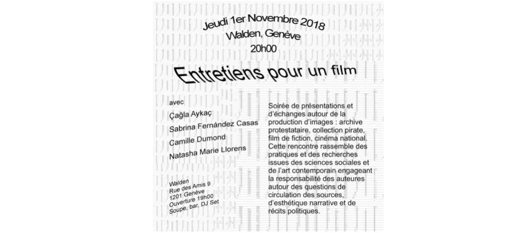 01/11 – 19H – Entretiens pour un film – Duplex / WaldenGenève