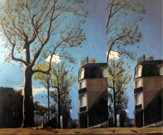Alexandre Carin, Le Jardin aux sentiers qui bifurquent, 2016, huile sur toile, 155 x 190 cm