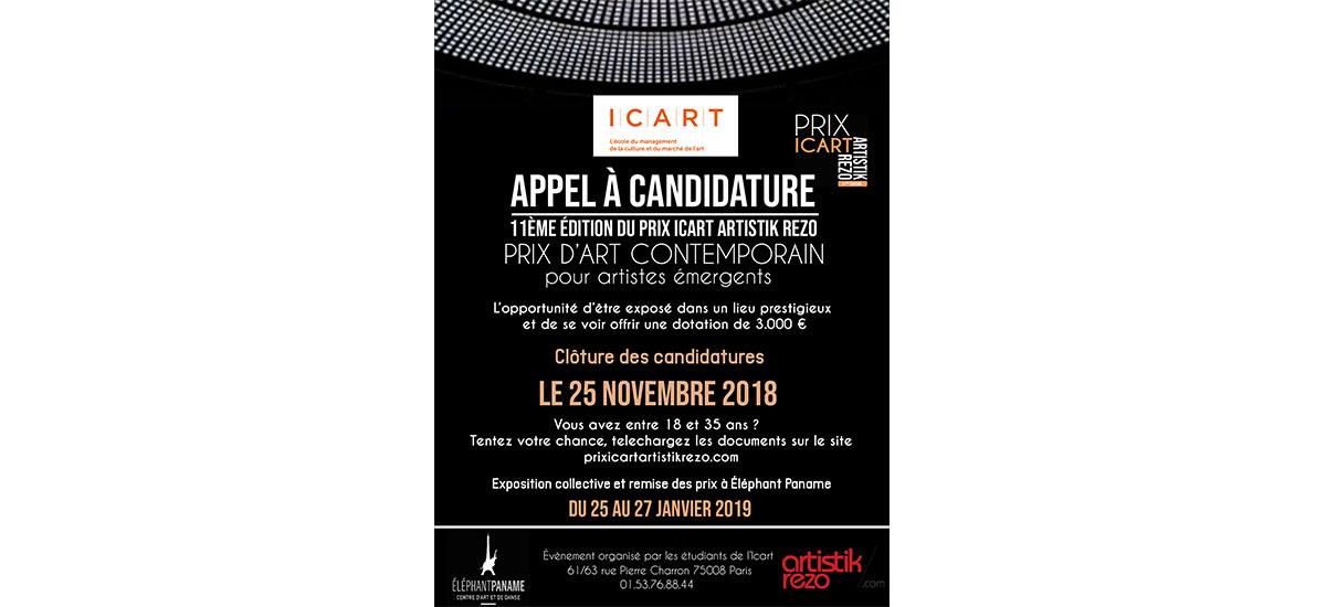 ▷25/11 – APPEL À CANDIDATURE – PRIX ICART ARTISTIK REZO 11e édition