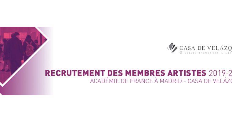 ▷14/12 – RECRUTEMENT DES MEMBRES ARTISTES 2019·2020 ACADÉMIE DE FRANCE À MADRID – CASA DE VELÁZQUEZ