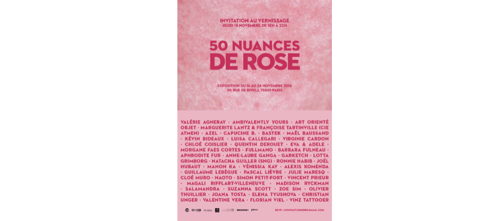 16▷24/11 – 50 NUANCES DE ROSE – 59 RIVOLI PARIS