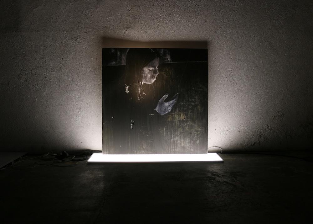 luc doerflinger, lueurs digitales 2, huile sur toile et dalle leds, 100 x 120 cm
