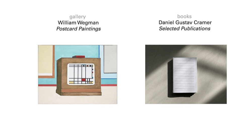 William Wegman / Daniel Gustav Cramer – 30/03 au 11/05 – Florence Loewy gallery / books, Paris