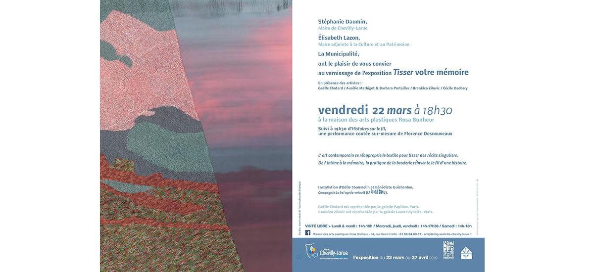 22/03 AU 27/04 – TISSER VOTRE MEMOIRE – MAISON DES ARTS PLASTIQUES ROSA BONHEUR, CHEVILLY-LARUE