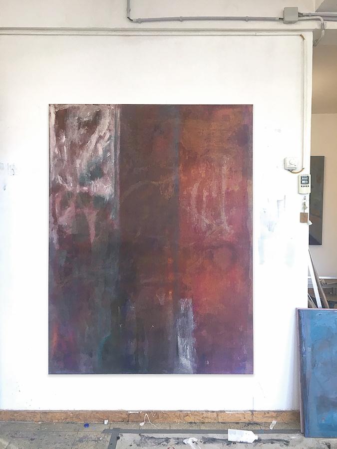 François Patoue, Negroni, 2019. Huile sur lin, 160 x 120 cm. Vue d'atelier. Courtesy et photo François Patoue