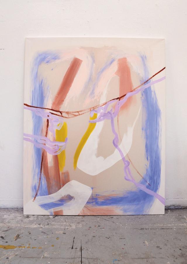 Iris Garagnoux, Cytoplasme, 2019. Peinture acrylique, pigments et brique rouge sur toile de coton, 160 x 180 cm. Courtesy Iris Garagnoux