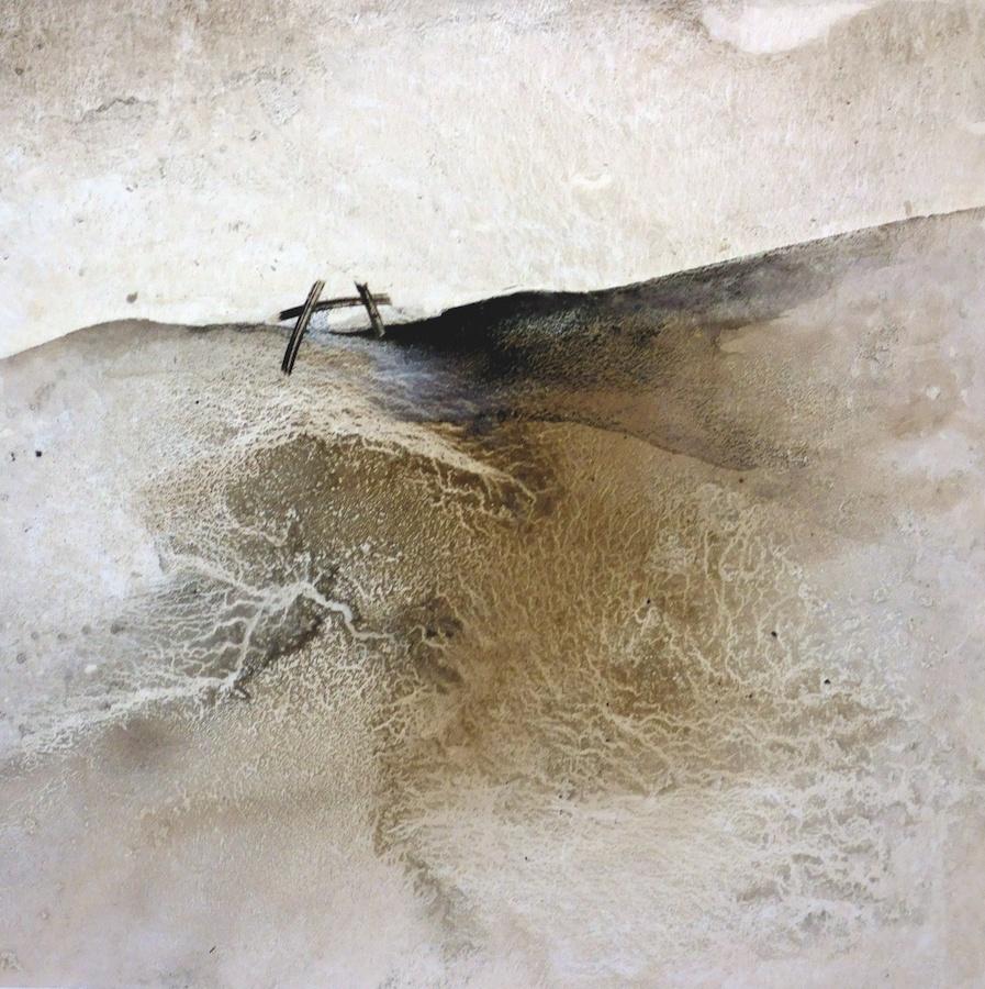 Li Chevalier, The origins of the world, 2015. Peinture, technique mixte sur toile, 150 x 150 cm. Courtesy Li Chevalier et Raibaudi Wang Gallery
