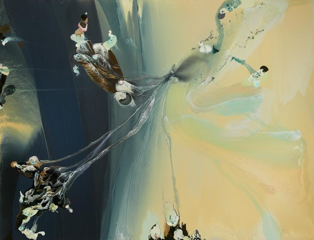 Lionel Sabatte, Spiruline de montagne, 2016. Huile sur toile, 230 x 300 cm. Courtesy Galerie Ceysson & Bénétière