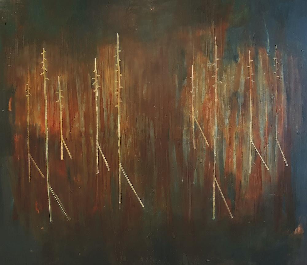 Ségolène Haehnsen Kan, Dans la forêt Reynols, 2019. Huile sur toile, 220 x 190cm. Courtesy Ségolène Haehnsen Kan