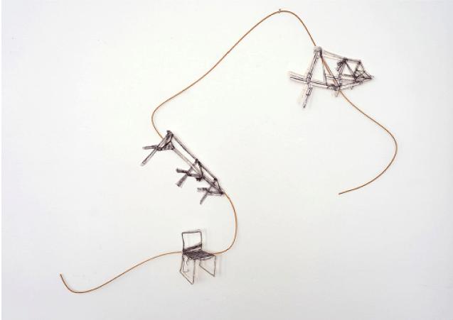 Catherine Melin, Sans titre, 2019, 80 x 110cm, carbonne sur papier fabriano 640g et canne de rotin. © Catherine Melin