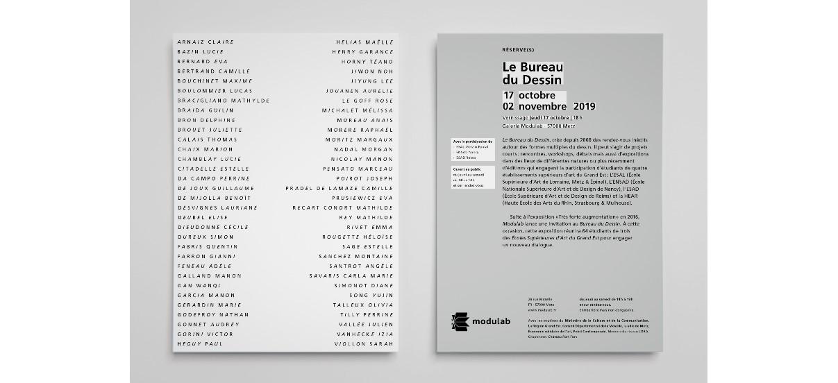 #Réserve(s) – Le Bureau du Dessin – 17/10 au 02/11 – Galerie Modulab, Metz