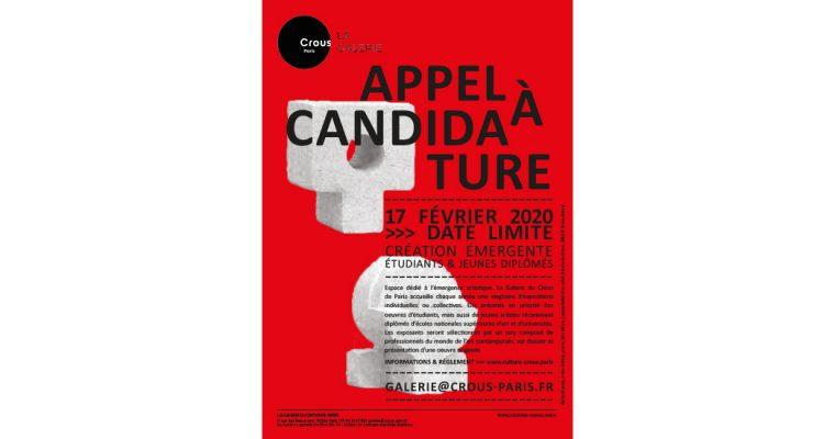 ▷17/02 – Appel à Candidatures – La Galerie du Crous de Paris