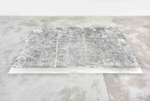 Golnaz Payani Quand les poussières tombent, 2019 Wood and cement 118 1/8 x 78 3/4 in (300 x 200 cm)