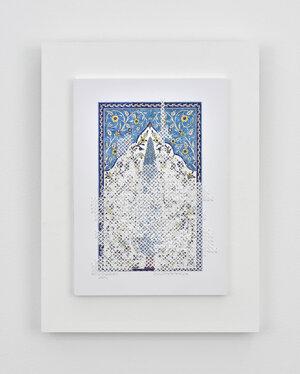 Golnaz Payani De la couleur à la blancheur, 2019 yarn, paper, ink, acrylic and wood  15 3/4 x 11 13/16 in (40 x 30 cm)