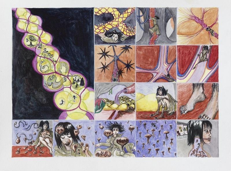 Lucie Picandet, Storyboard Celui que je suis - Planche 2, 2017_Aquarelle sur papier, 43 x 57 cm © Galerie Georges-Philippe & Nathalie Vallois