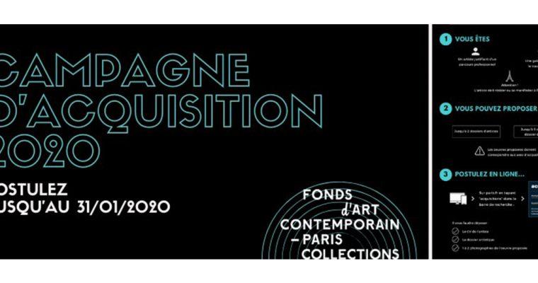 ▷31/01 – Campagne des acquisitions 2020 du Fonds d'art contemporain – Paris Collections