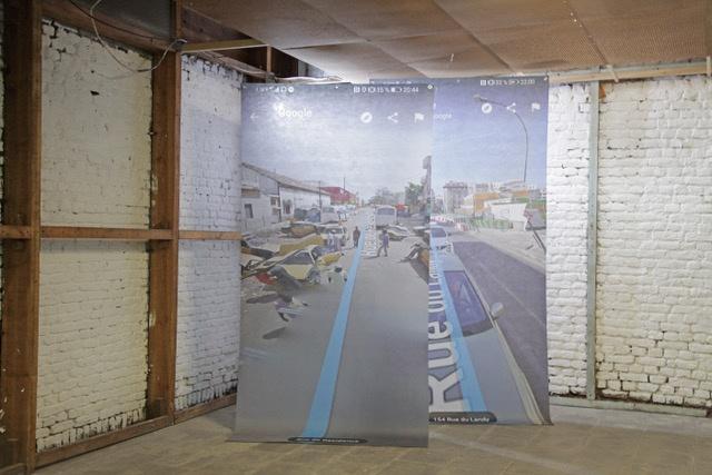 Andrea Le Guellec « Dans deux cent mètres », 2020, Dispositif sonore et impression sur tissu