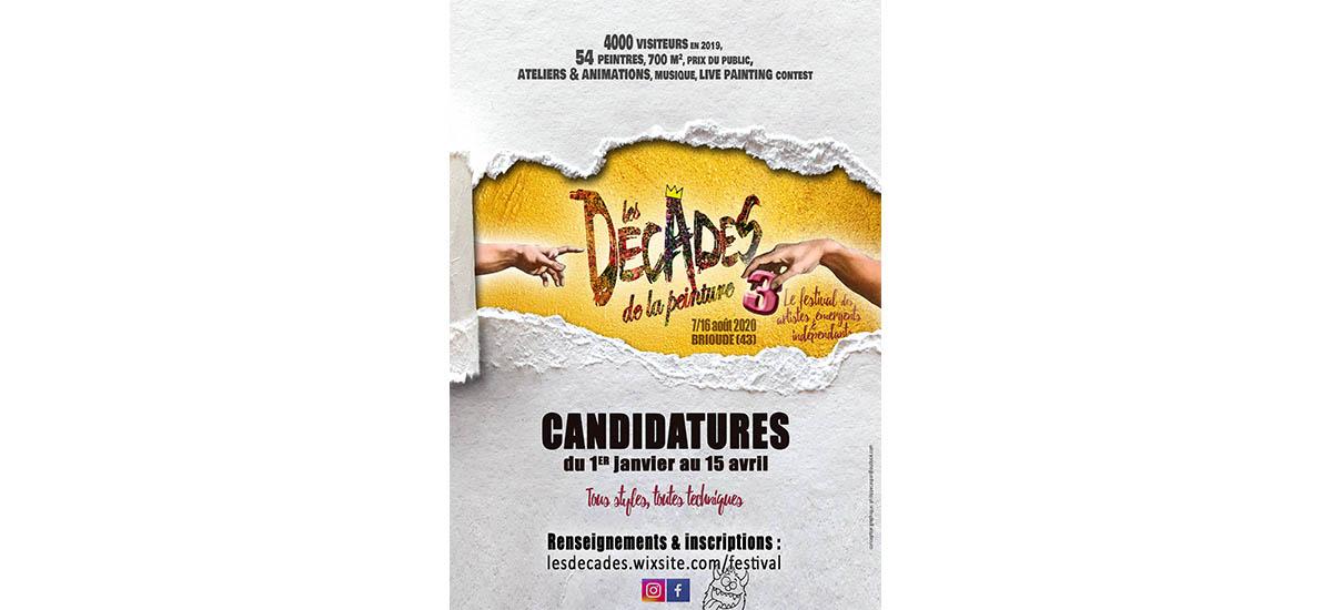 ▷01.06 – APPEL À CANDIDATURE – Festival des Décades de la peinture