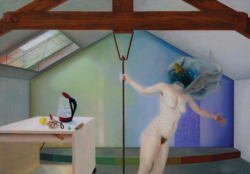 Marion Bataillard, Melancholia ou la rate au court-bouillon. Huile sur toile,170x240cm