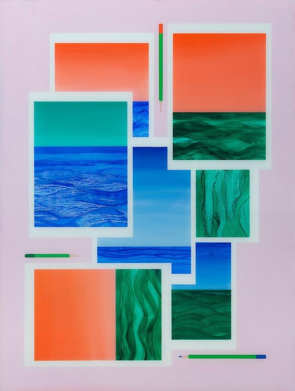 Marius Pons de Vincent, Marines aux crayons. Huile sous verre, 80x60 cm