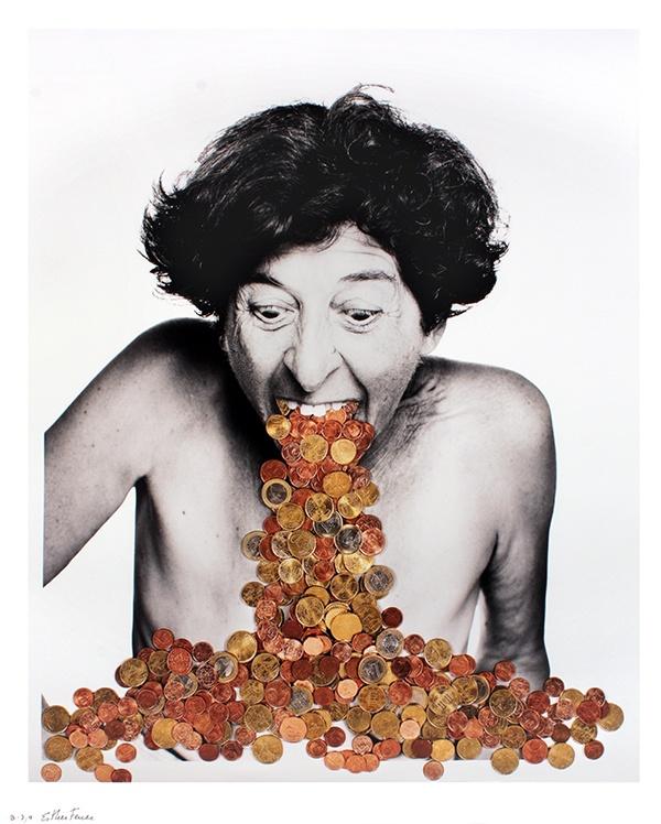 Esther Ferrer, Europortrait, 2002, Photomontage, 78,5 x 63,5 cm, fonds de dotation Jean-Jacques Lebel (c) ADAGP, Paris, 2020