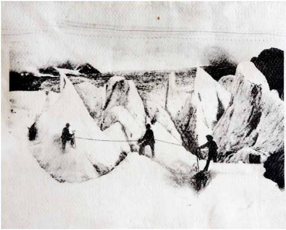 exposition au bout du plongeoir, le grand bain_Galerie Binome-Paris_Douglas Mandry-Glacier des Bossons-série Monuments-2019-20