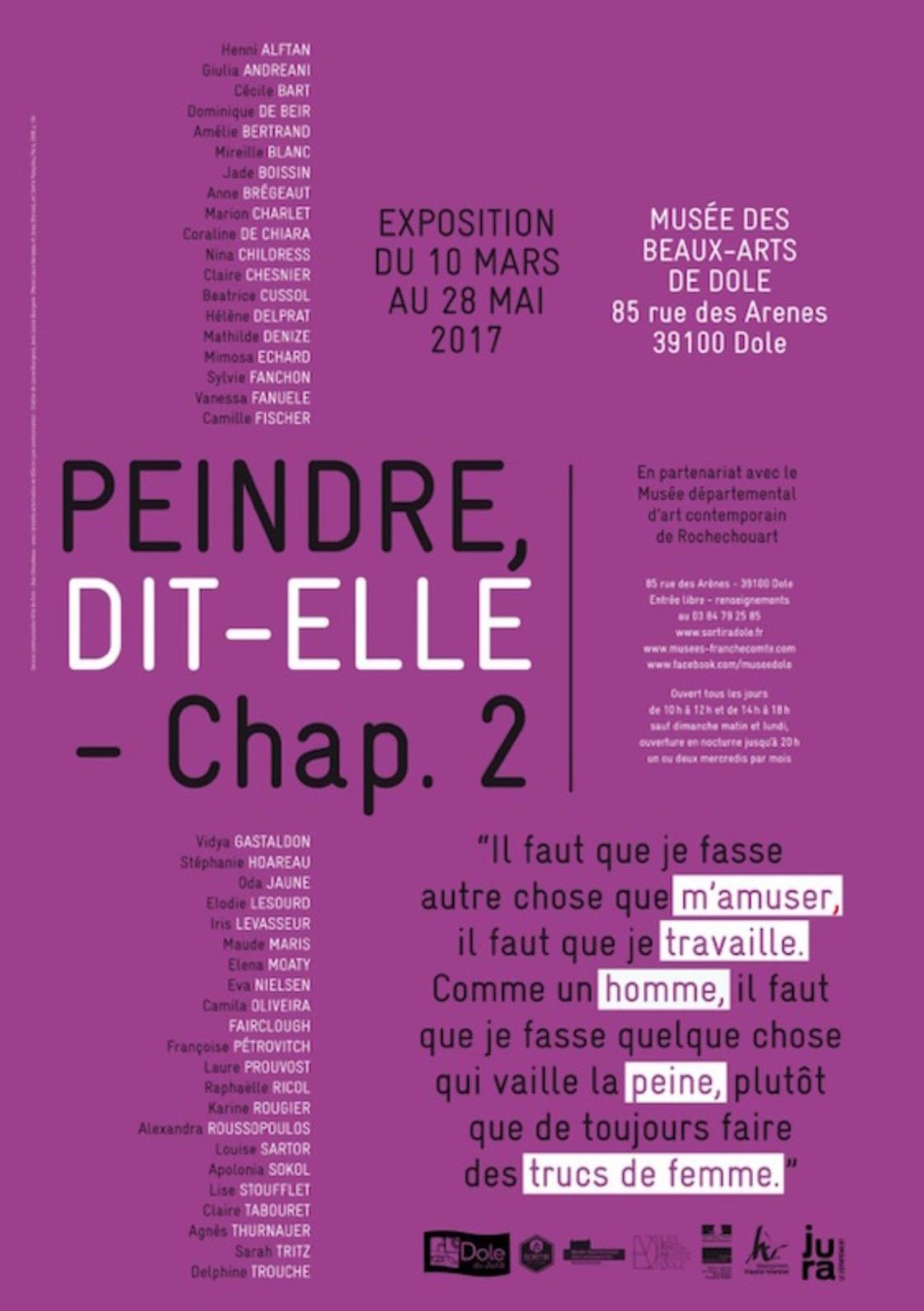 [EXPO] 10.03→28.05 – PEINDRE DIT-ELLE (CHAP.2) – MUSÉE DES BEAUX-ARTS DE DOLE