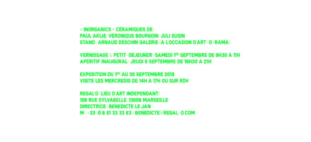 01▷30/09 – INORGANICS– ARNAUD DESCHIN GALERIE – REGAL'O MARSEILLE