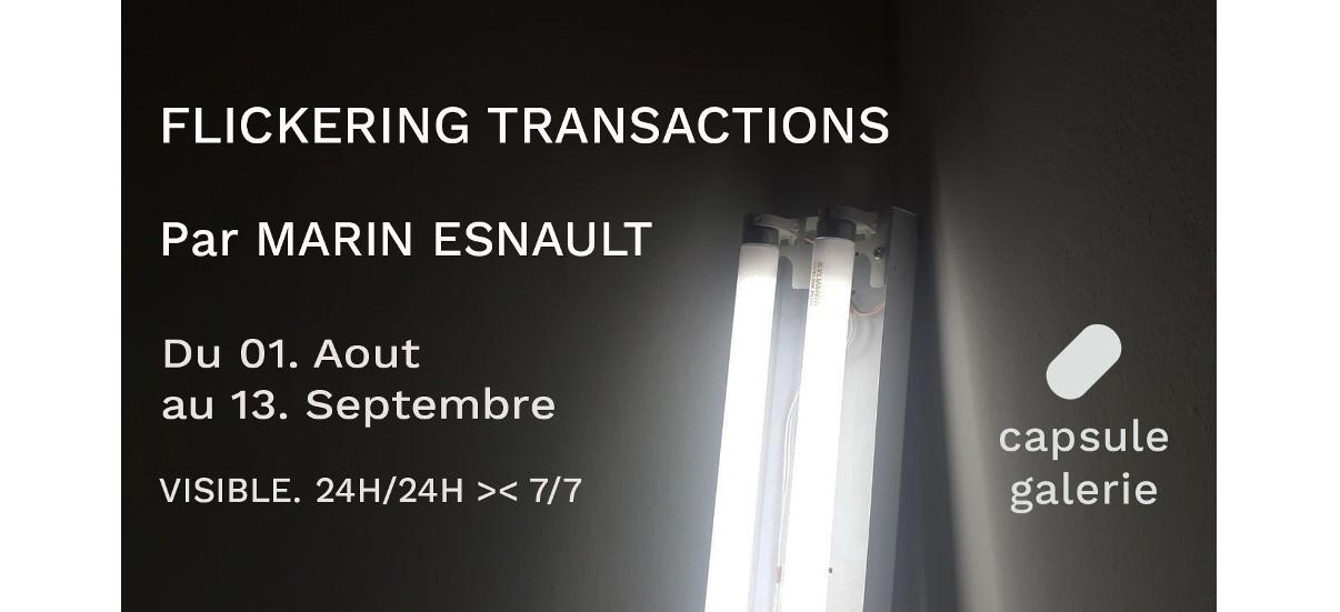 Marin Esnault – Flickering Transactions  – 01/08 au 13/09 – Capsule Galerie, Rennes
